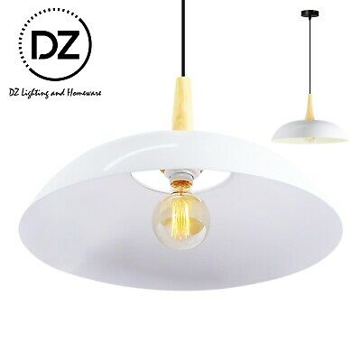 Metal Wok White Pendant Lighting Wooden Modern Ceiling Lamp Light - s