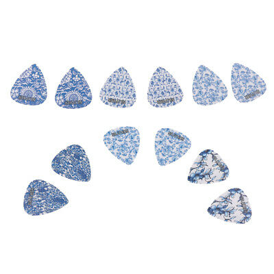 Vintage Blue Flower Pattern Celluloid Guitar Ukulele Picks Plectrums 12PCS