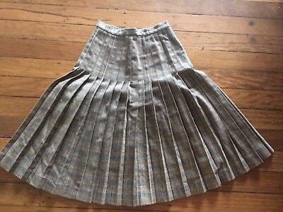 Fab Brown Retro Jaeger Heavy Pleated Buttoned Mid Calf Length Skirt Size 8-10