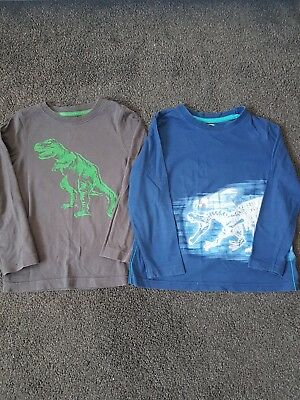 Mothercare F&f 2X Long Sleeved Dinosaur Tops Age 3-4 Grey Blue