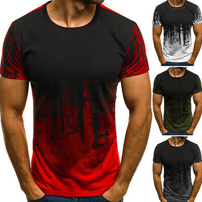Men's Slim Fit O Neck Short Sleeve Muscle Tee Shirts Casual T-shirt Top Blouse Y