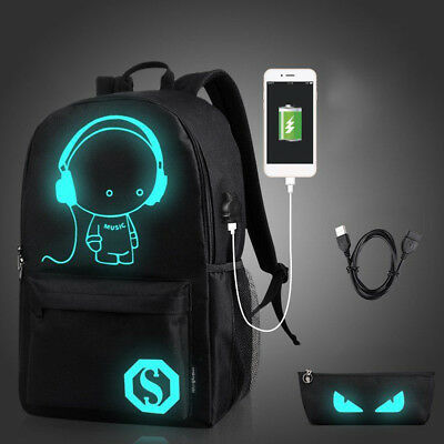 Anime Luminous Anti-Theft Laptop Backpack Shoulder School Bag USB Charger CHY