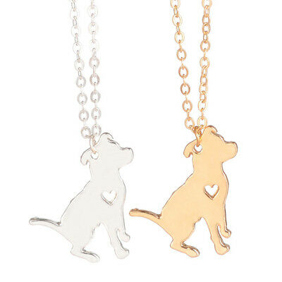 Tiny Dog Necklace PITBULL Metal Charm Delicate Dainty Chain SILVER GOLD Pet Love