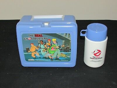 Vintage Thermos 1986 The Real Ghostbusters Blue Plastic Lunchbox With Thermos