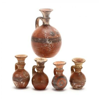 Five Authentic Antiquity Late Bronze Age Red Ware Juglets 1300-1200 B.C.