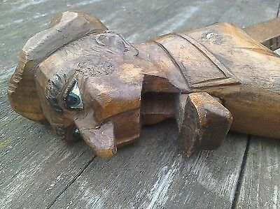Antique Vintage Carved Treen Wooden Black Forest Man Nutcracker