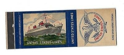 Vintage Matchbook Cover UNITED STATES LINES Steamship SS America #372