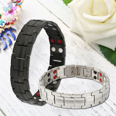 Mens Titanium Steel Double Row Magnetic Therapy Bracelet Pain Relief Arthritis