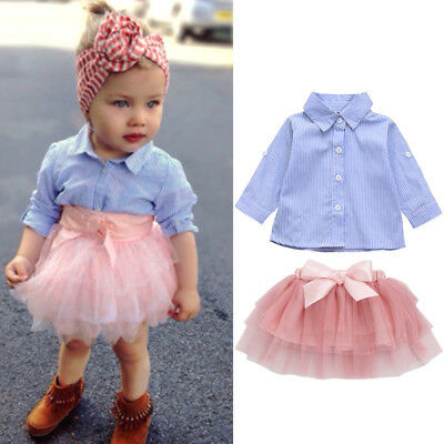 2Pcs Toddler Baby Girls Bow Striped Tops + Tutu Skirt Set Outfits Clothes Set VP