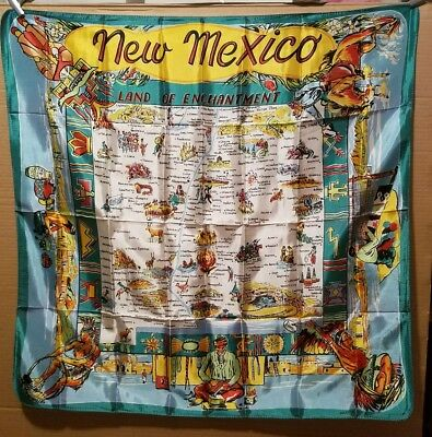 Vintage New Mexico  State Souvenir Scarf. Land of Enchantment  (15)