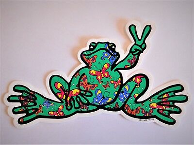 """Peace Frogs Butterfly Frog Sticker - 6"""" x 3""""- High Quality Vinyl - Made in USA"""