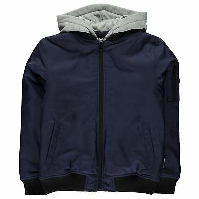 Lee Cooper Hooded Bomber Jacket Youngster Childrens Padded Coat Top Zip
