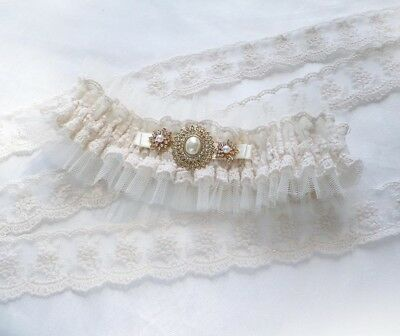 Light Champagne Nude Lace Golden Brooch Bridal Personalized Garter Vintage Style