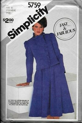 Vtg Simplicity Sewing Pattern 5759 Misses' SKIRT & LINED JACKET sz 12, 14, 16