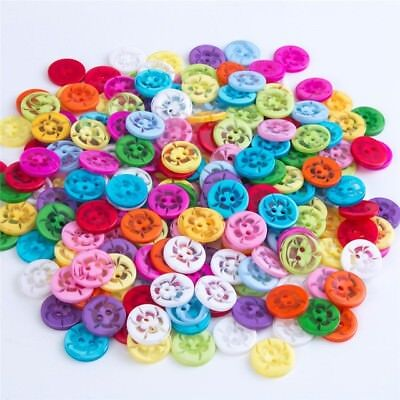 100 Pcs Mixed Flower 2 Holes Acrylic Buttons fit Sewing and Scrapbooking 14mm