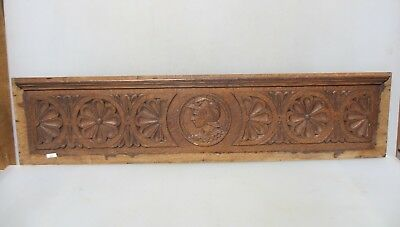 Antique Carved Wooden Panel Plaque Door Victorian Floral Old Roman Soldier 38""