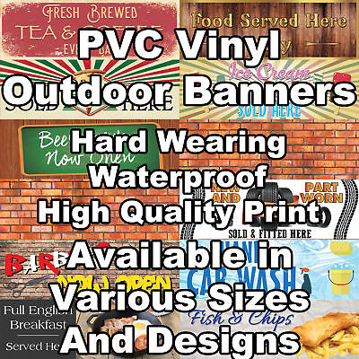 Giant PVC Vinyl Outdoor Advertising Shop Sign Business Banner Easy Install