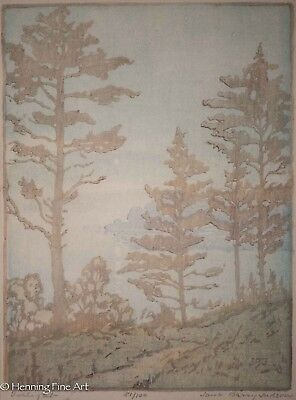 "Jane Berry Judson Signed Woodblock ""Twilight, Sheepscot River Maine"" RARE & FINE"