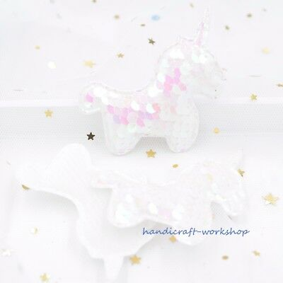 8Pcs Lovely Unicorn Reversible Change Sequins Embroidered Pads Appliques/Patches