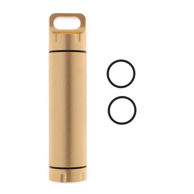 Tablets Case Box Tank Cache Container Bottle Capsule Seal Holder Case Gold