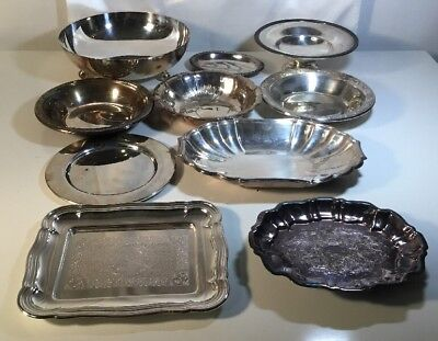 10 Piece VTG Silver Plated Tray-Bowl LOT Small