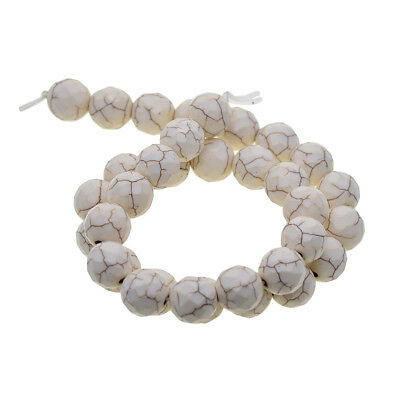 Unique White Turquoise Jewelry Accessory Round Loose Beads Special Faceted