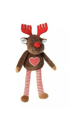 House of Paws 2 in 1 Reindeer Dog Toy with Removable Antlers | Christmas Squeaky