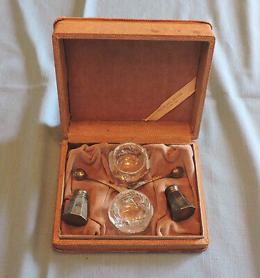 Vintage Sterling Silver Salt Set in Box - C2313