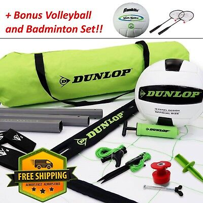 Volleyball Net Set Outdoor Sports Park Beach Portable Poles with Ball Badminton