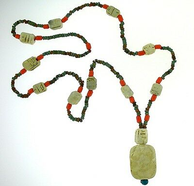 "Egyptian Necklace  -Vintage Mummy Beads/Scarab/corals  26"" -NEW PRICING!"