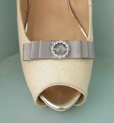 2 Small Grey Satin Bow Clips for Shoes with Diamante Buckle Style Centre