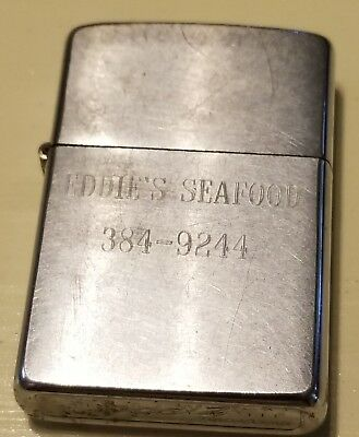 "VINTAGE 1969 Dated ZIPPO LIGHTER Engraved ""Eddie's Seafood"" Cigarette Cigar"