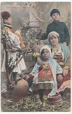 Greece; Salonica, Local Costumes PPC By Jacques Saul, 1918 PMK On Active Service