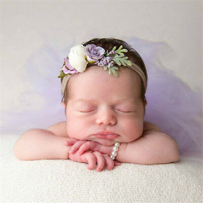 Newborn Photo Props Bracelet Headband Set Baby Glass Pearl Bracelets Shower Gift