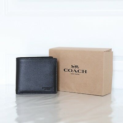 New Coach F75084 Men's Double Billfold Wallet in Calf Leather Black Gift set