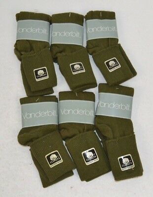 Vintage 1980's Women's Cuffed Cotton Blend Socks LOT OF 6 Pairs, Olive 9-11
