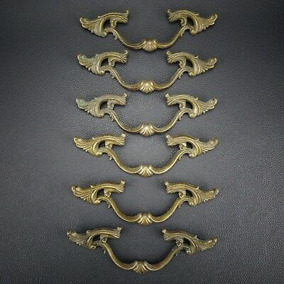 6 Vintage Antique Cast Brass Handle Pull Dresser Drawer Cabinet Pulls (Lot 34)