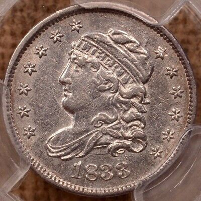 1833 LM-4.1 Capped Bust half dime, PCGS AU53, fully frosty    DavidKahnRareCoins