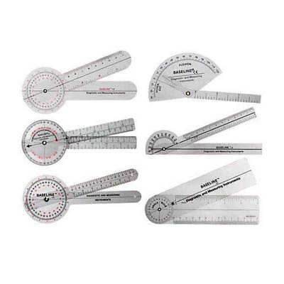Baseline 6-Piece Plastic Goniometer Set Latex Free,Angle Scale Reads 1°Increment