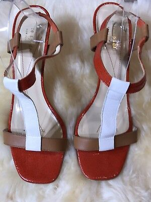 d68de0a7f9b Kate Spade NY Sz 10B Colorblock Stiletto Heels Shoes Red Brown White T Strap