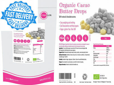 Organic Cacao Butter Drops 1kg (also available in 500g) - Small Edible Pure...