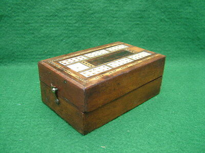 Antique Folding Victorian Cribbage Box Board Inlaid  Various Veneers & Bone