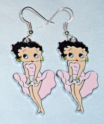 Betty Boop Lt Pink Earrings  Marilyn Pose Handcrafted Free Shipping within USA
