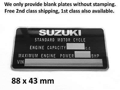 SUZUKI VIN Data Plate Frame Reg ID Tag Chassis Part