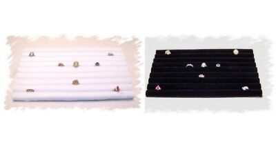 """1 FULL SIZE Ring Roll White Leather Continuous 8 Slot Display Pad 72 + rings 14"""""""