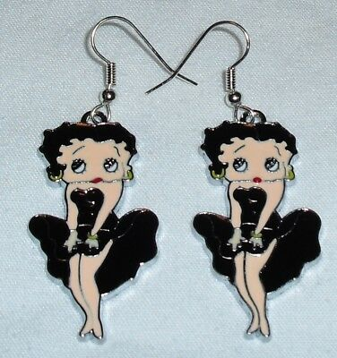 Betty Boop Black Earrings  Marilyn Pose Handcrafted Free Shipping within the USA