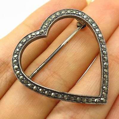 Vintage & Antique Jewelry Fine Jewelry Vintage Marsala 925 Sterling Silver Real Marcasite Gem Heart Design Pin Brooch