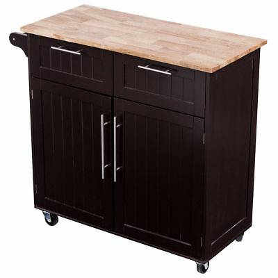 Portable Wood Rolling Kitchen Island Cabinet Utility Storage Serving Cart Table