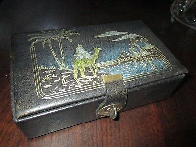Antique EGYPTIAN leather gold embossed SWISS mechanical music box jewelry chest