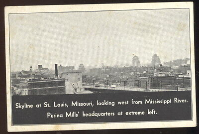 1930-40S Sepia Photo Pc, Skyline At St. Louis, Mo. Purina Mills Hq. Building
